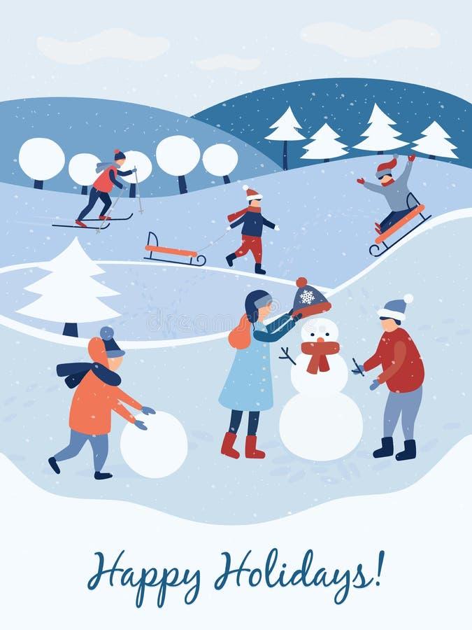 Gelukkige Vakantie Kerstman Klaus, hemel, vorst, zak De kinderen maken een sneeuwman De winter en jonge geitjes Vector vector illustratie