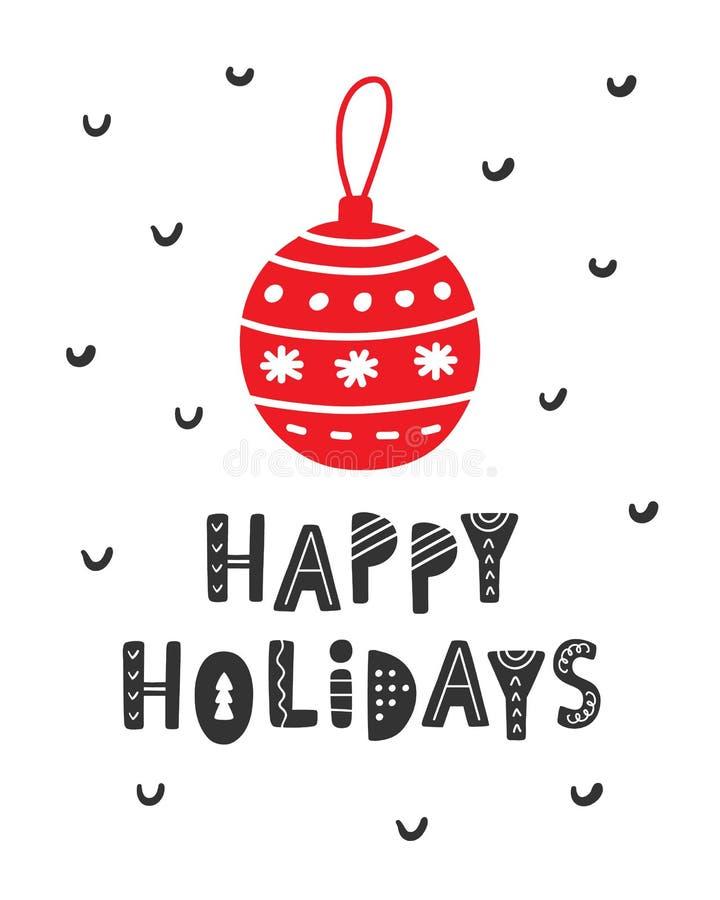 Gelukkige Vakantie Kerstmis en Nieuwjaar Skandinavische groetkaart vector illustratie