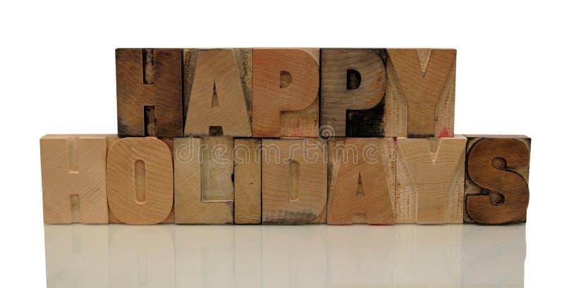 Gelukkige vakantie in letterzetsel houten type