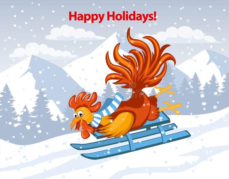 Gelukkige Vakantie, Vrolijke Kerstmis en de Gelukkige Kaart van de Nieuwjaar 2017 Groet royalty-vrije illustratie