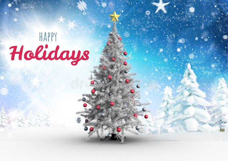 Gelukkige Vakantietekst met Kerstboom vector illustratie