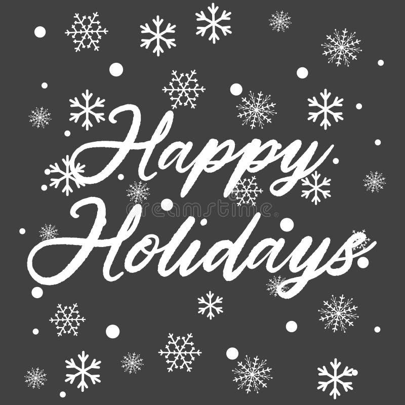 Gelukkige Vakantietekst voor de winterviering van Kerstmis en Nieuwjaar kalligrafie vector illustratie