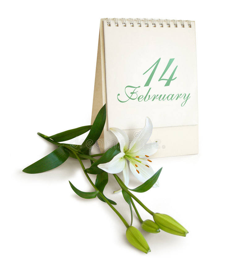 Gelukkige Valentijnskaart, Mijn Liefde. Bloem, kalender royalty-vrije stock afbeeldingen