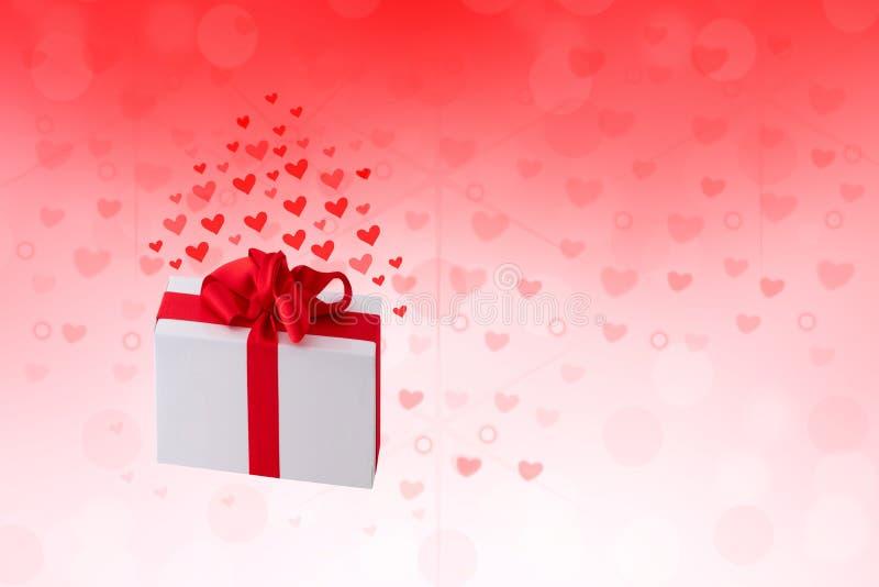 Gelukkige Valentijnskaarten of huwelijksdag De abstracte rode achtergrond van de liefde romantische vakantie met harten en een gi royalty-vrije illustratie