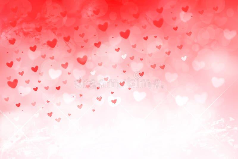 Gelukkige Valentijnskaarten of huwelijksdag De abstracte roze achtergrond van de liefde romantische vakantie met rode en witte ha vector illustratie