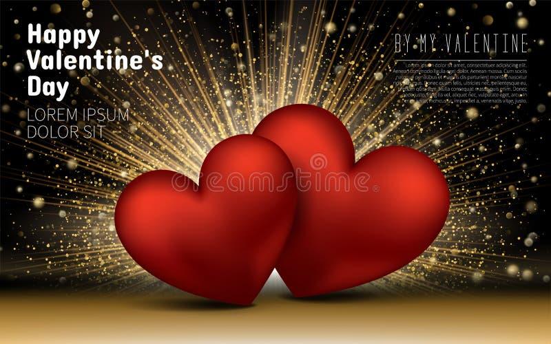 Gelukkige valentijnskaartendag De gouden Liefde van Luxe Elegante Harten schittert Achtergrond Het Ontwerpkaart van het lay-outma stock illustratie