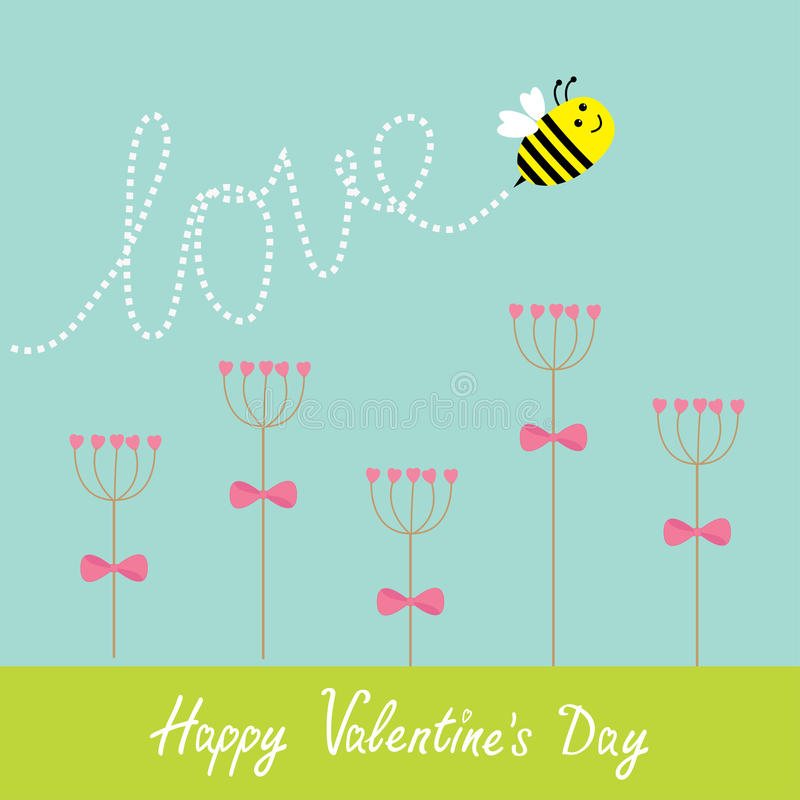 Gelukkige valentijnskaartendag De kaart van de liefde De bloemreeks van de hartstok en vliegende bij Groen gras Het woordliefde v stock illustratie