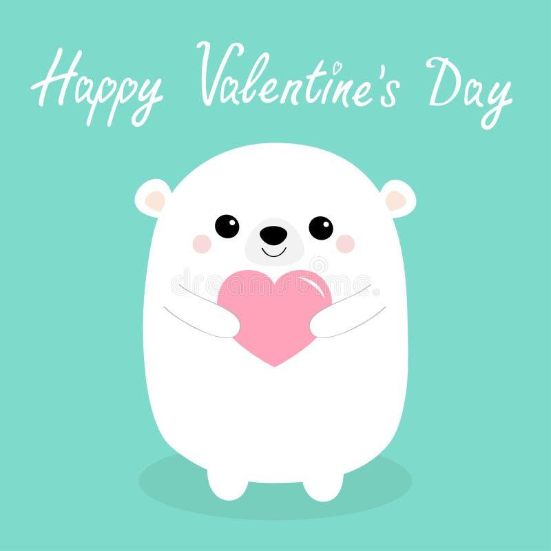 Gelukkige valentijnskaartendag De witte baby draagt hoofdgezicht dat roze hart houdt Het leuke grappige dierlijke karakter van be vector illustratie