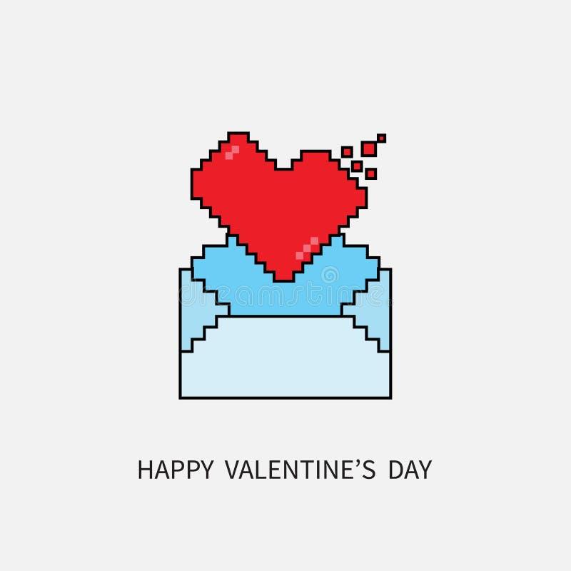 Gelukkige valentijnskaartendag E-mail het Berichtpictogrammen met 8 bits van het Pixelhart en stock illustratie
