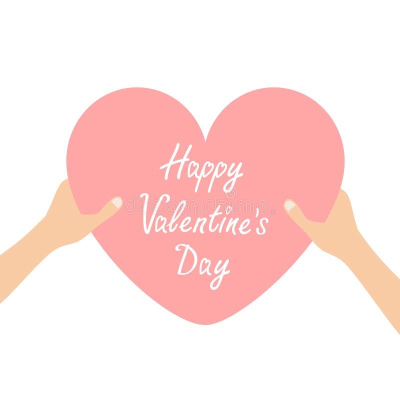 Gelukkige valentijnskaartendag Handenwapens die roze de vormteken houden van het hartpictogram De kaart van de groet De giftconce stock illustratie