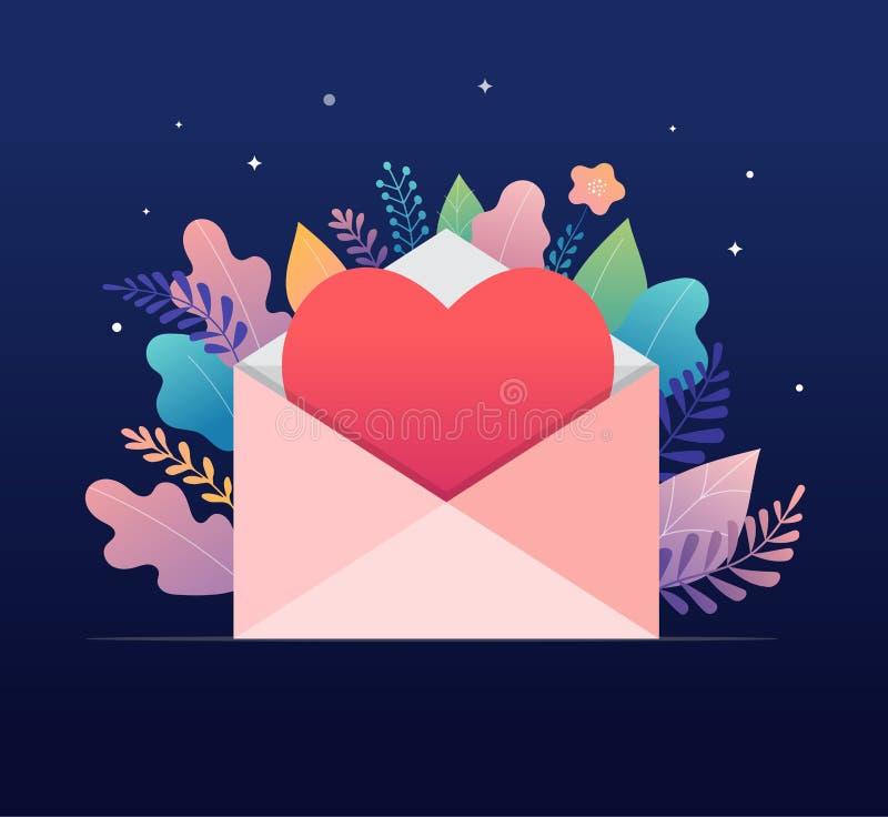 Gelukkige Valentijnskaartendag, het concept van de liefdebrief Grote envelop met rood hart, romantische achtergrond, bannerontwer royalty-vrije illustratie