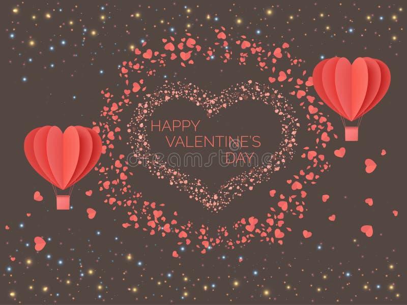 Gelukkige valentijnskaartendag Het rode koraal kleurde harten in de vorm van ballons tegen de achtergrond van lichten van multico stock illustratie