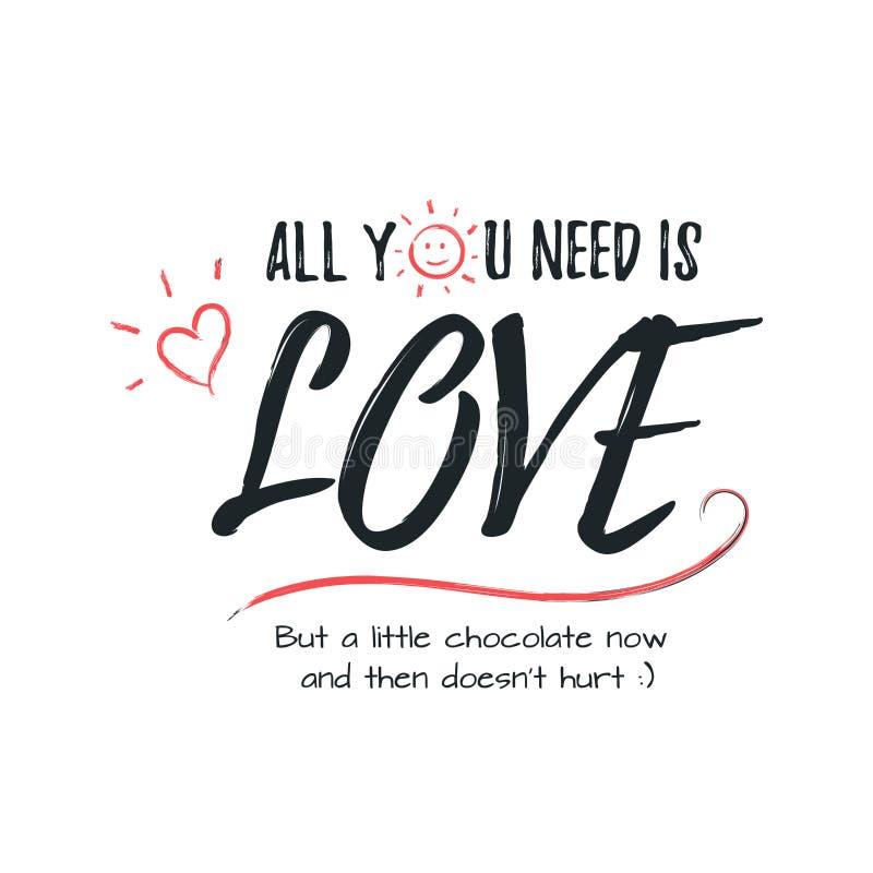 Gelukkige Valentijnskaartendag het van letters voorzien groet - Typografieaffiche met met woorden van liefde Vectorillustratie vo royalty-vrije stock afbeeldingen