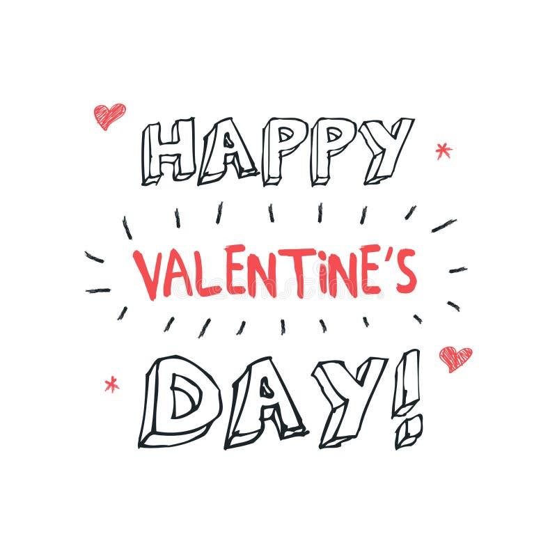 Gelukkige Valentijnskaartendag het van letters voorzien groet - Typografieaffiche met met woorden van liefde Vectorillustratie vo stock foto's