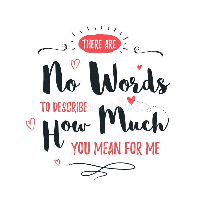 Gelukkige Valentijnskaartendag het van letters voorzien groet - Typografieaffiche met met woorden van liefde Vectorillustratie vo stock afbeeldingen