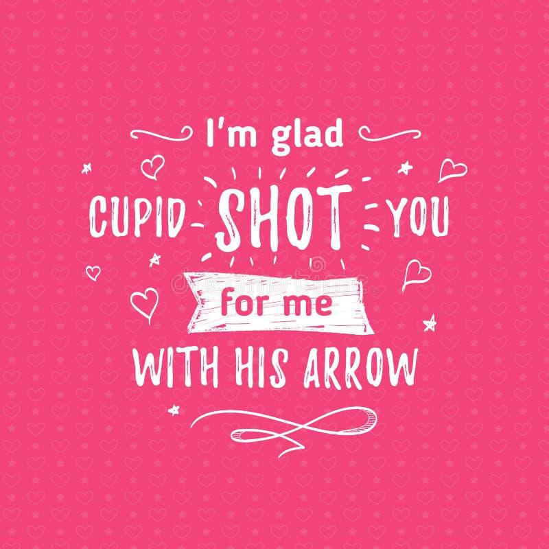 Gelukkige Valentijnskaartendag het van letters voorzien groet - Typografieaffiche met met woorden van liefde Vectorillustratie vo royalty-vrije stock foto's