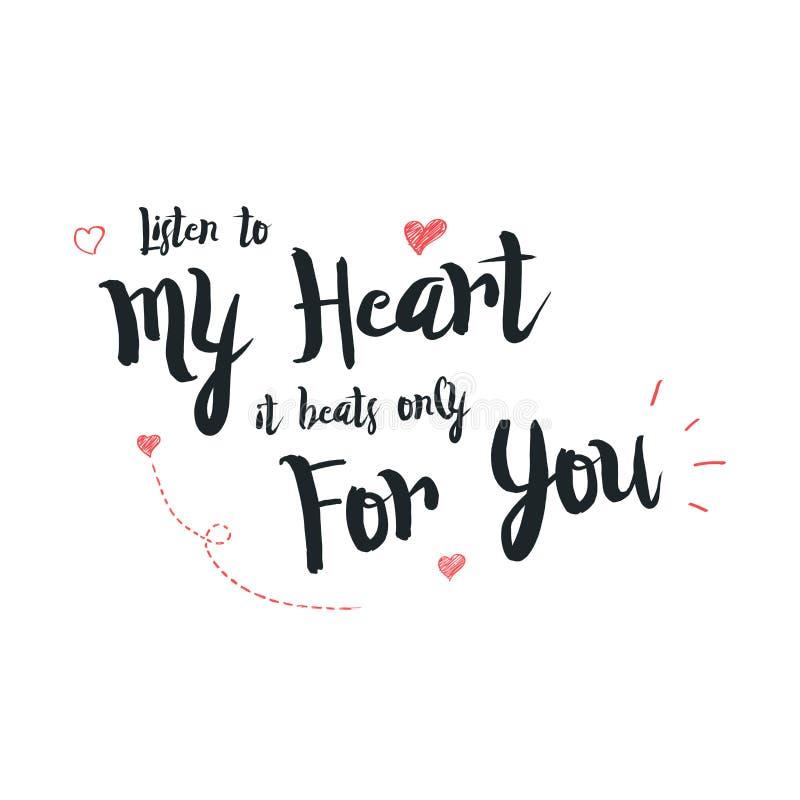 Gelukkige Valentijnskaartendag het van letters voorzien groet - Typografieaffiche met met woorden van liefde Vectorillustratie vo royalty-vrije stock afbeelding