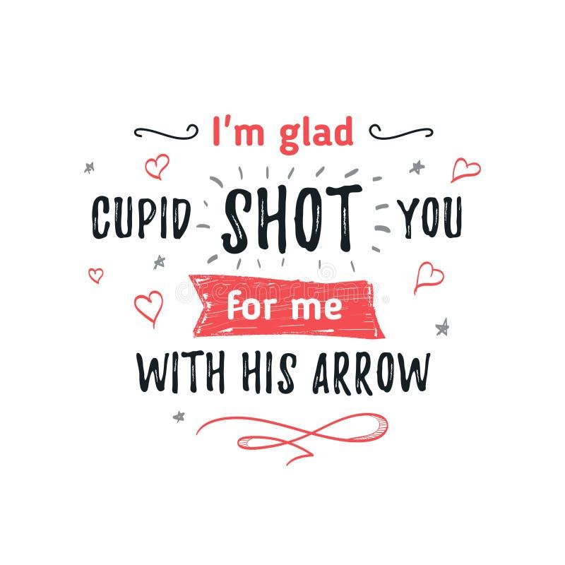 Gelukkige Valentijnskaartendag het van letters voorzien groet - Typografieaffiche met met woorden van liefde Vectorillustratie vo royalty-vrije stock fotografie
