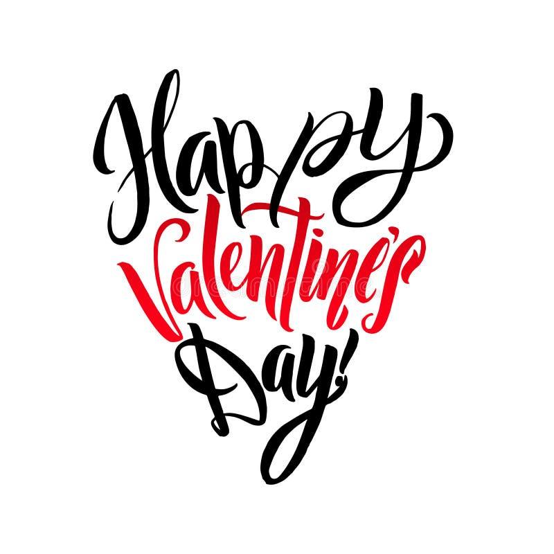 Gelukkige Valentijnskaartendag het Van letters voorzien het Hartvorm van de Groetkaart Kalligrafisch Malplaatje vector illustratie