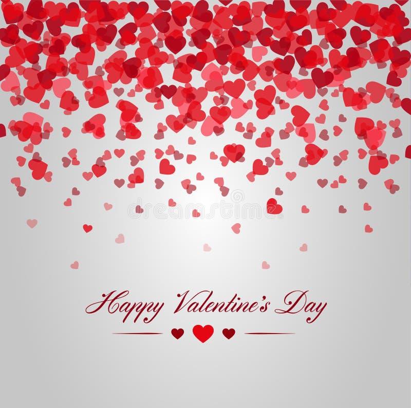 Gelukkige valentijnskaartendag Kaart van het rode harten vallen stock foto