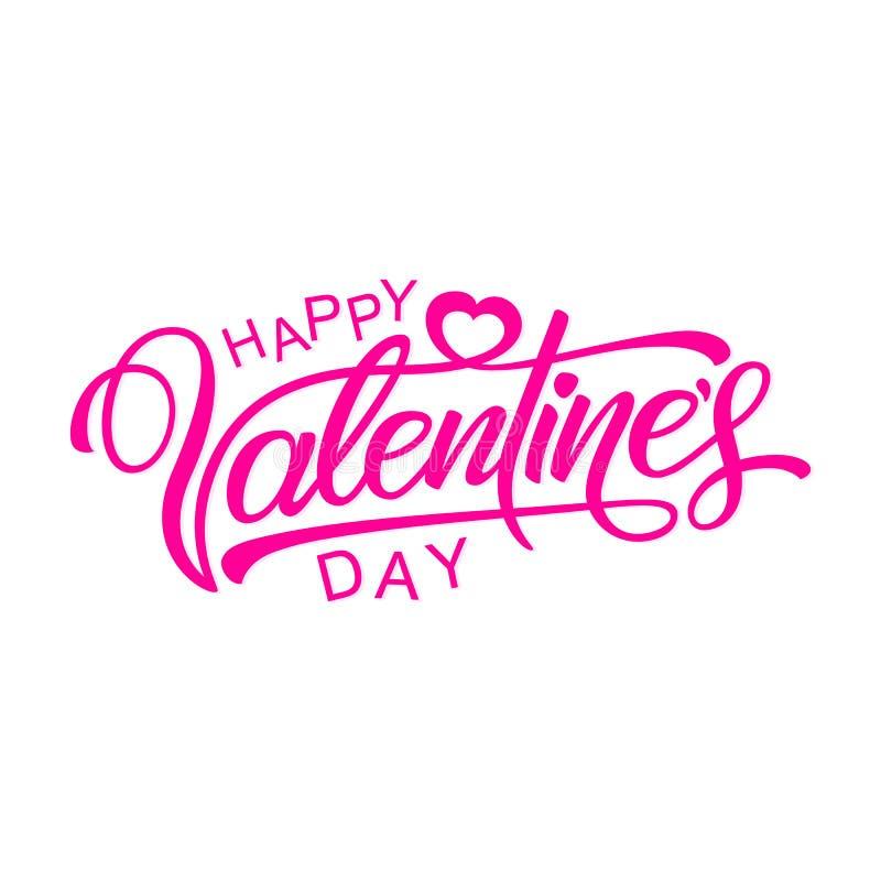 Gelukkige valentijnskaartendag Kalligrafische tekst Vectorillustratie stock afbeelding