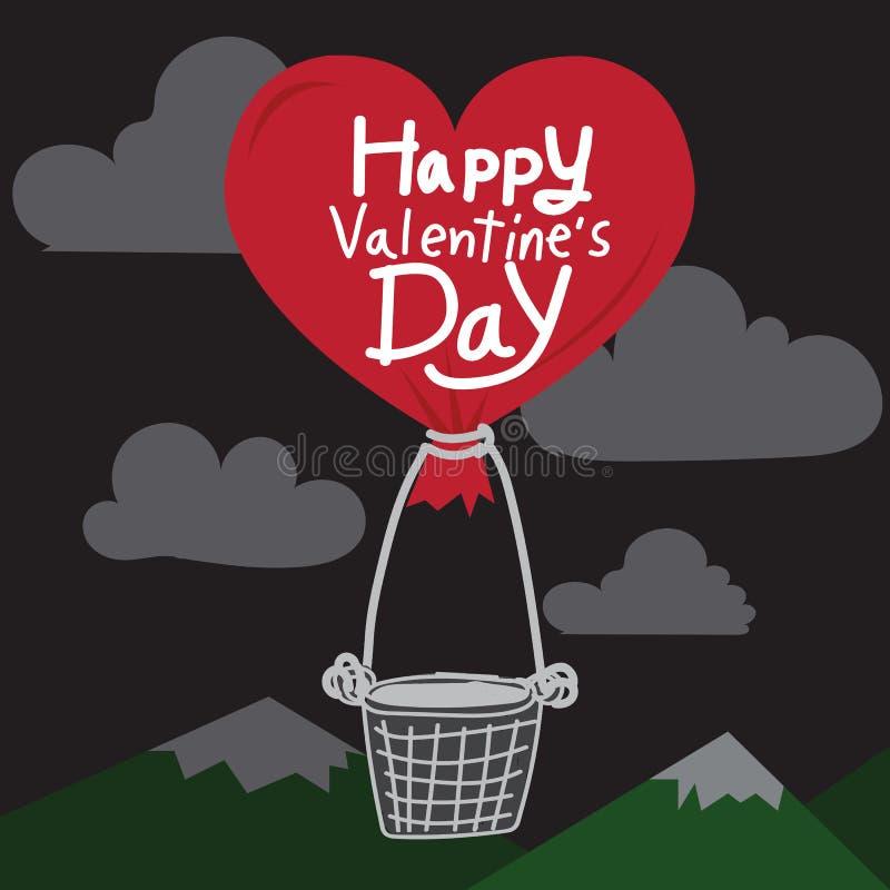 Gelukkige Valentijnskaartendag met de Ballon van de hartlucht stock illustratie