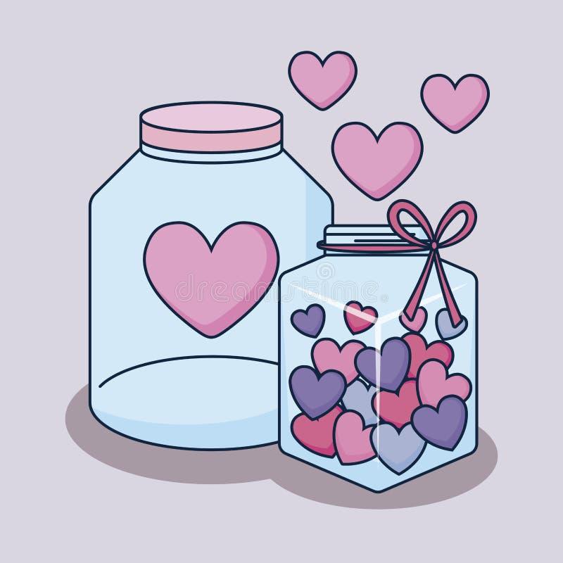 Gelukkige valentijnskaartendag met kruiken stock illustratie