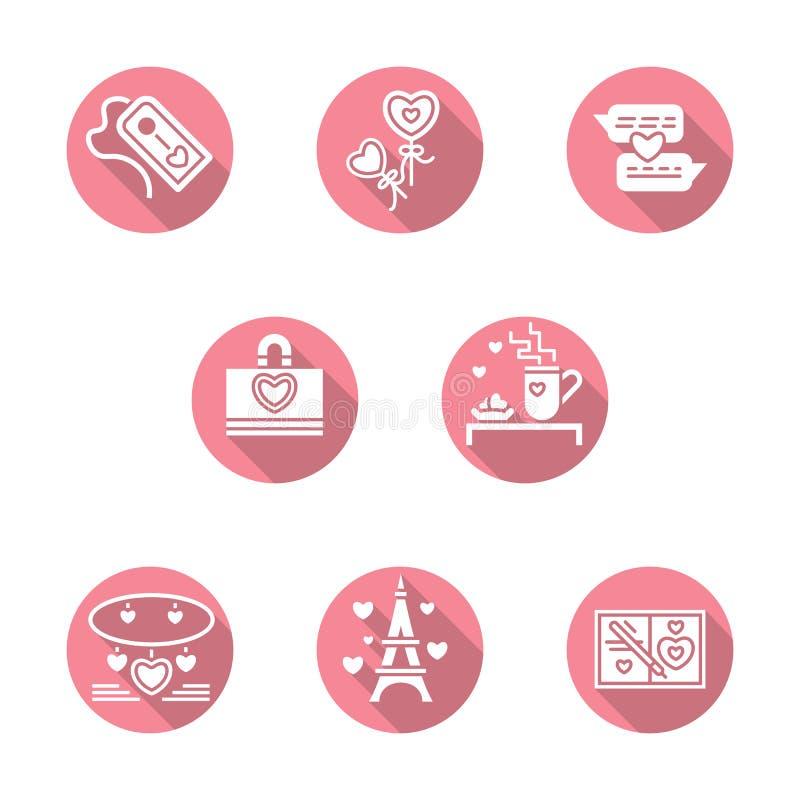 Gelukkige Valentijnskaartendag om roze pictogrammen stock illustratie