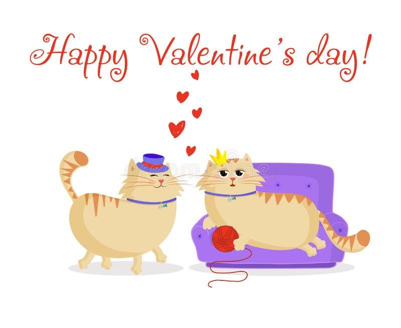 Gelukkige valentijnskaartenprentbriefkaar met leuk beeldverhaalpaar van katten in liefde royalty-vrije illustratie