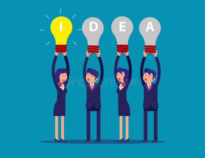 Gelukkige van de commerciële het idee gloeilampen teamholding boven zijn hoofd Concepten bedrijfs creatieve idee?n vectorillustra stock illustratie