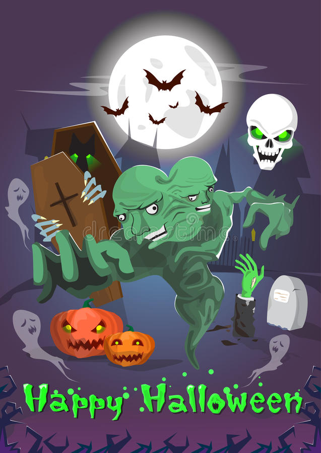 Gelukkige van de de Monsterspartij van Halloween Dode de Uitnodigingskaart vector illustratie