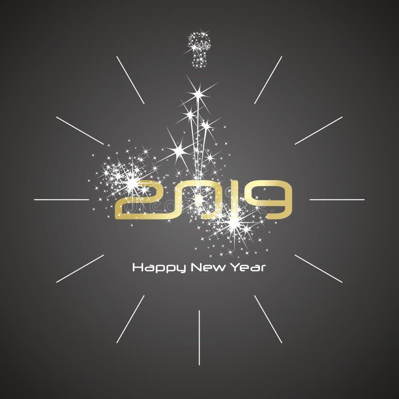Gelukkige van de het vuurwerkklok van de Nieuwjaar 2019 champagne gouden glanzende de aantallen zwarte achtergrond stock illustratie