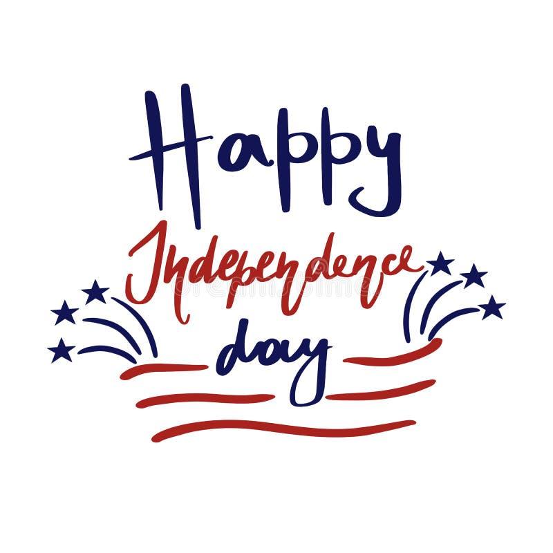 Gelukkige van de de Onafhankelijkheidsdag van Verenigde Staten de groetkaart E vector illustratie