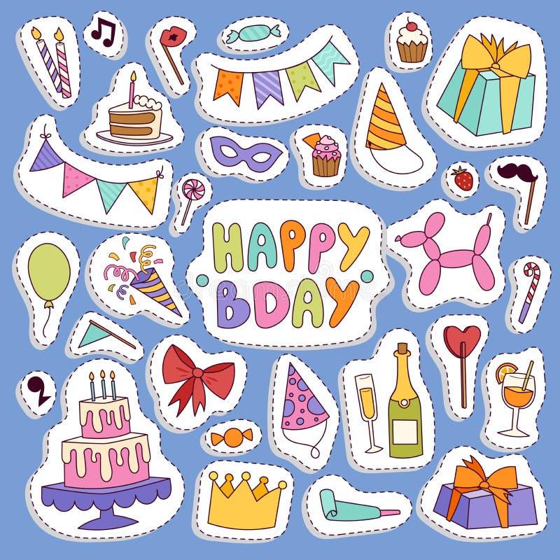 Gelukkige van de symbolencarnaval van de verjaardagspartij vector van de de illustratie vastgestelde kleurrijke gelukkige verjaar vector illustratie