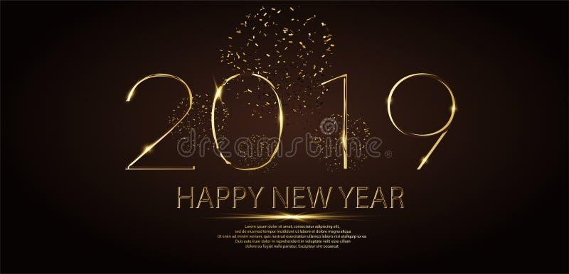 Gelukkige van de de vakantiegroet van de Nieuwjaar 2019 winter de kaartontwerpsjabloon Van de van de partijaffiche, banner of uit royalty-vrije illustratie