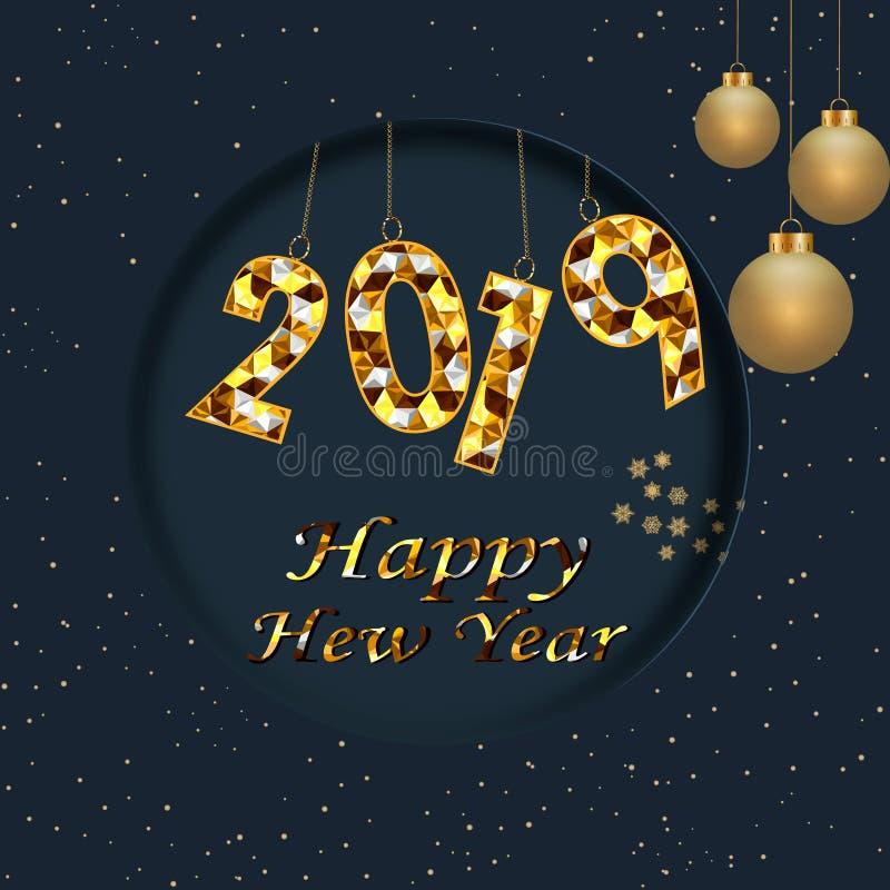 Gelukkige van de de vakantiegroet van de Nieuwjaar 2019 winter de kaartontwerpsjabloon Van de van de partijaffiche, banner of uit stock illustratie