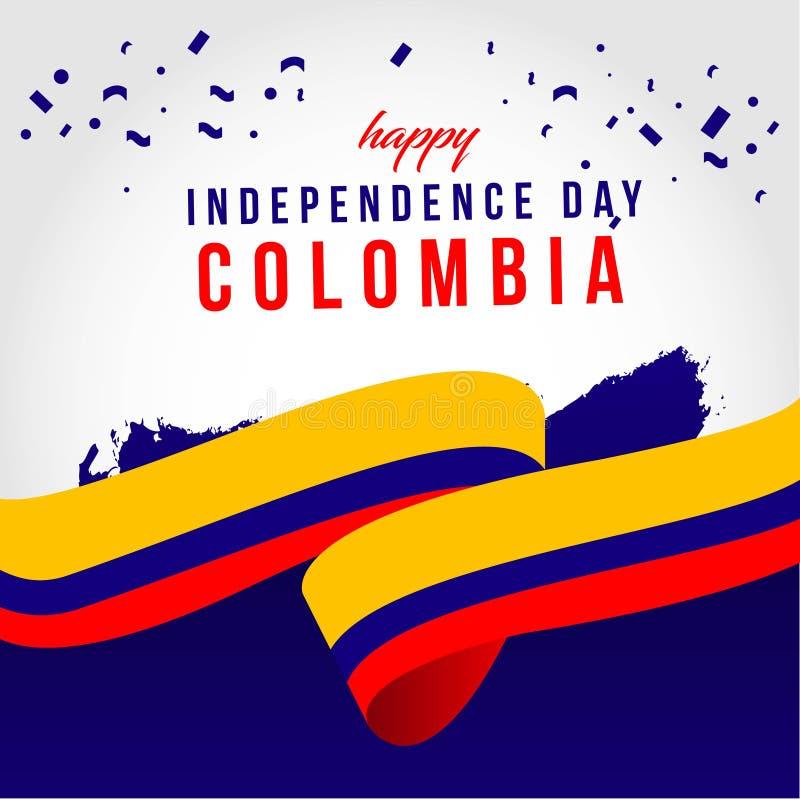 Gelukkige van het de Dag Vectormalplaatje van Colombia Onafhankelijke het Ontwerpillustratie vector illustratie