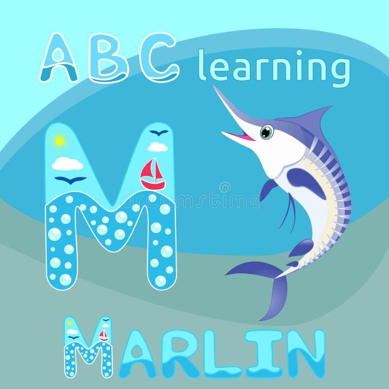 Gelukkige van het de marlijnbeeldverhaal van marlijnvissen vector Blauwe gestreepte van het het karakter Oceaanleven de fauna Vro vector illustratie