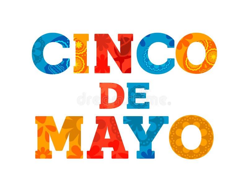 Gelukkige van het de tekstcitaat van Cinco DE Mayo de groetkaart