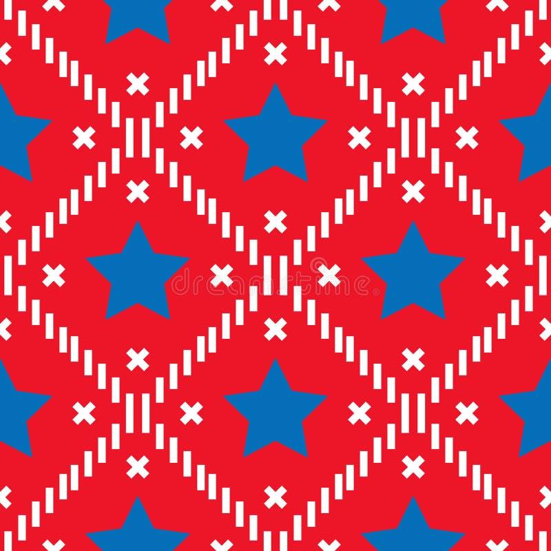 Gelukkige 4 van Juli, de achtergrond van de de Onafhankelijkheidsdag van de V.S. Vector naadloos vlagpatroon, blauwe ster en rode vector illustratie