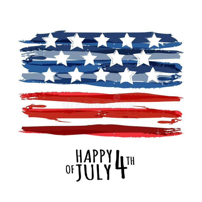 Gelukkige 4 van Juli, de Onafhankelijkheidsdag van de V.S. Vectorsamenvatting grunge stock illustratie