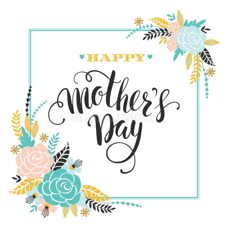 Gelukkige van letters voorziende de groetkaart van de Moedersdag met Bloemen royalty-vrije illustratie