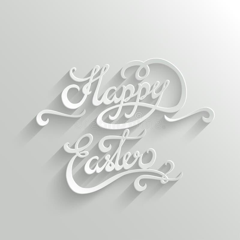 Gelukkige van letters voorziende de Groetkaart van Pasen stock illustratie