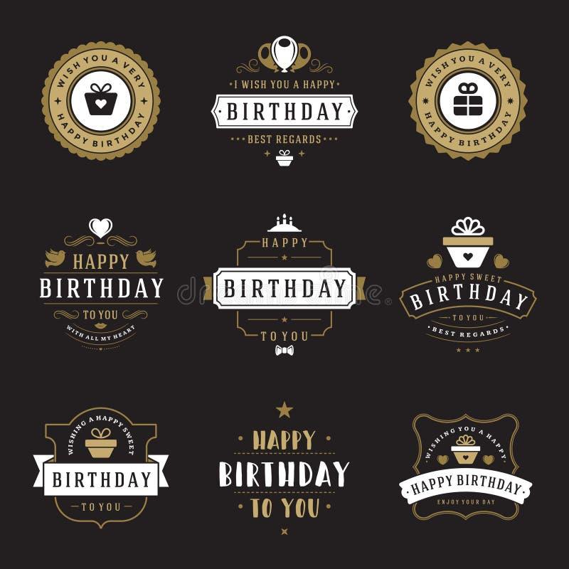 Gelukkige van Verjaardagskentekens en Etiketten Vector Geplaatste Ontwerpelementen vector illustratie