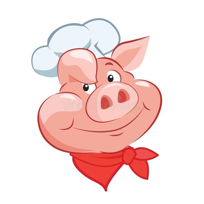 Gelukkige Varkenschef-kok Head De vectorillustratie van het beeldverhaal Varkenschef-kok Hat Varkenschef-kok Toy vector illustratie