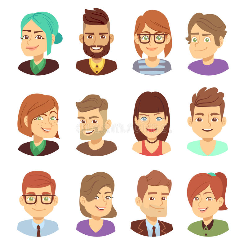 Gelukkige vectorkarakters Jonge man en vrouwen het glimlachen gezichtenavatar inzameling stock illustratie
