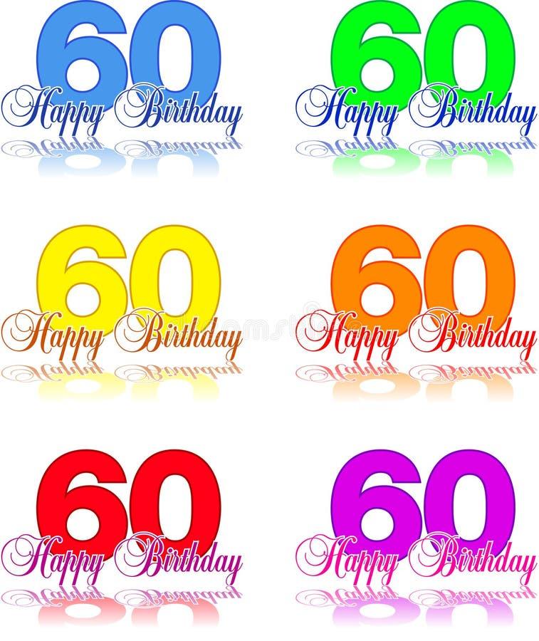Gelukkige verjaardag 60 royalty-vrije illustratie