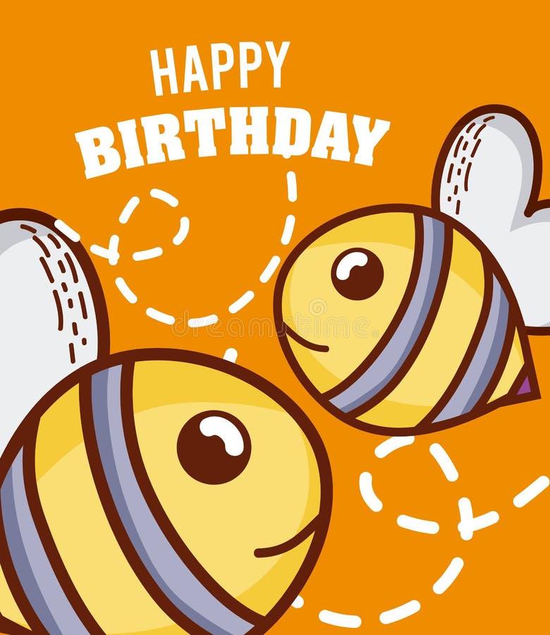 Gelukkige verjaardag aan u bijenbeeldverhaal royalty-vrije illustratie