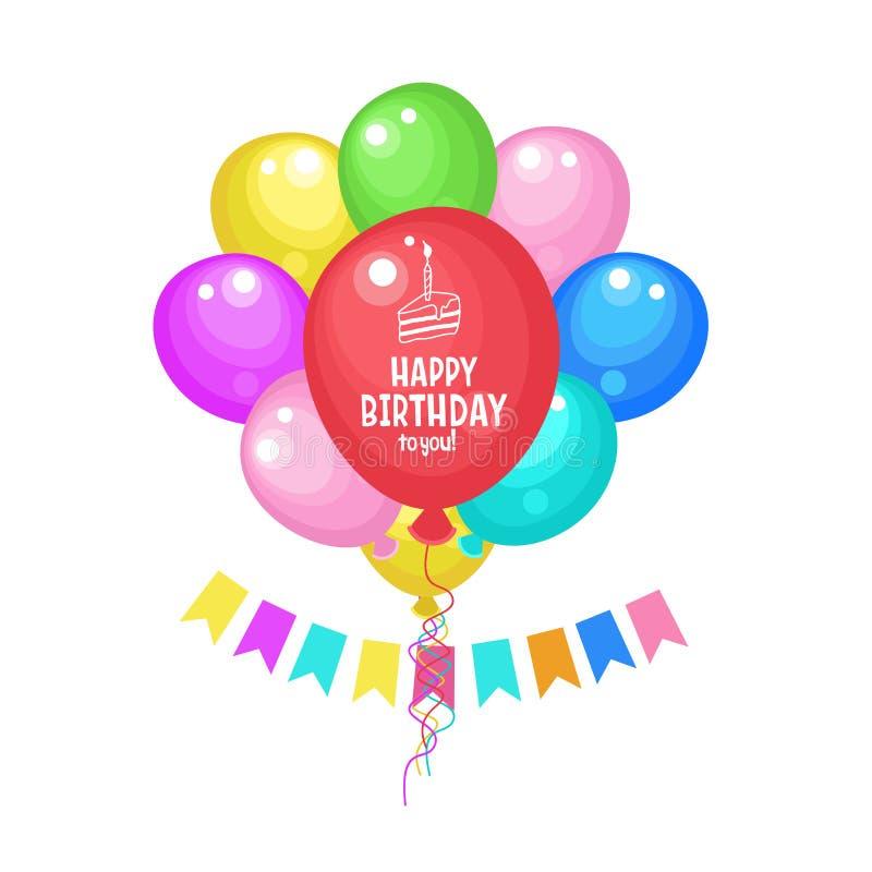 Gelukkige verjaardag aan u De groetkaart van de verjaardag Kleurrijke kleurrijke ballons royalty-vrije illustratie
