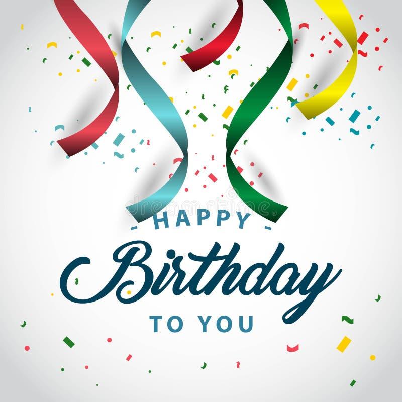 Gelukkige Verjaardag aan u de Vectorillustratie van het Malplaatjeontwerp royalty-vrije illustratie
